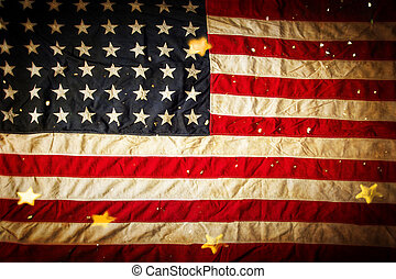 Background with vintage USA flag.