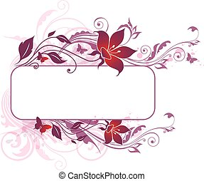 Decorative vector background with violet and pink flowers