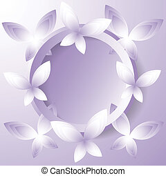 background with violet butterflies.