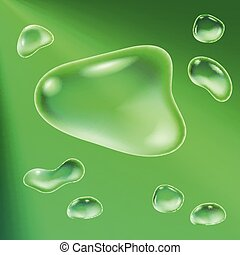 Background with water drops of different forms. Vector illustration.