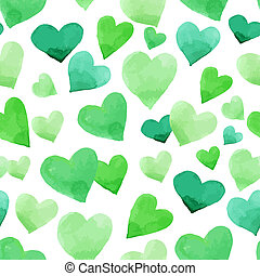 Background with watercolor hearts. Green seamless Irish...