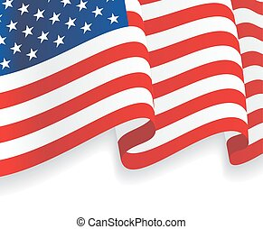 Background with waving American Flag. Vector illustration