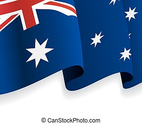 Background with waving Australian Flag. Vector