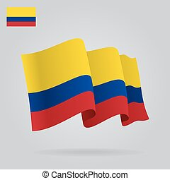 Background with waving Colombian Flag. Vector