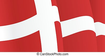 Background with waving Danish Flag. Vector