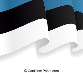 Background with waving Estonian Flag. Vector