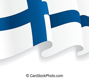 Background with waving Finnish Flag. Vector