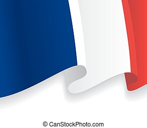 Background with waving French Flag. Vector