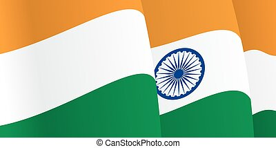 Background with waving Indian Flag. Vector