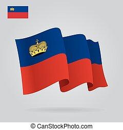 Background with waving Liechtenstein Flag. Vector