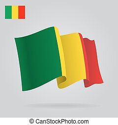 Background with waving Mali Flag. Vector