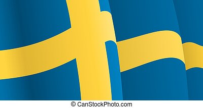 Background with waving Swedish Flag. Vector
