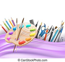 background with wavy lines and color pencils, art palette, brushes, pens. vector