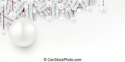 Background with white 3d Christmas ball.