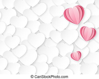 Background with white and pink paper hearts. Template with place for text. Design for Valentine's Day. The 14th of February. Texture paper cut.