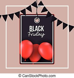background with white frame and thistle color background with black festoons with pendant rectangle tag of black friday offer with red balloons and black backdrop