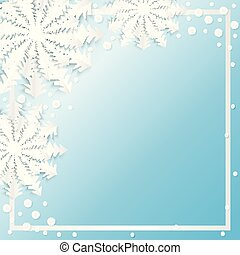 Background with white paper snowflakes on blue background and a place for text. Vector illustration. EPS10