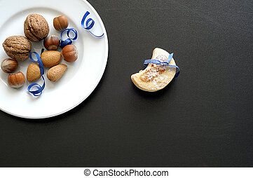 Background with winter dessert on black table
