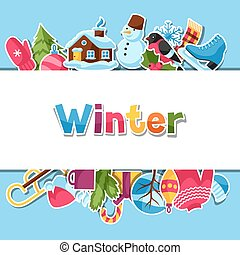 Background with winter stickers. Merry Christmas, Happy New...