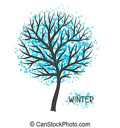 Background with winter tree. Illustration of silhouette and abstract spots
