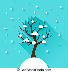Background with winter tree in flat design style.
