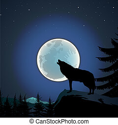 Background with wolf howls of moon, vector Eps10 illustration.