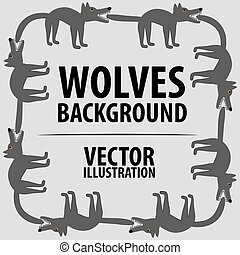 Background with wolves. Cartoon flat characters. Vector...