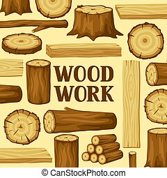 Background with wood logs, trunks and planks. Design for forestry and lumber industry