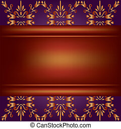 Background with wooden board and decorative ornament