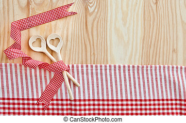 Background with wooden cooking spoons