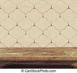 Background with wooden deck table on vintage wallpaper