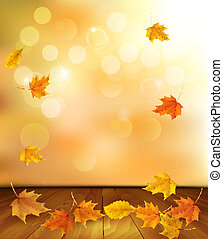 Background with wooden floor and autumn leaves. Vector.
