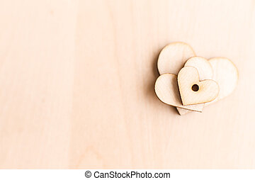 background with wooden hearts