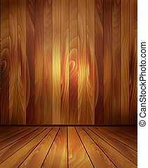 Background with wooden wall and a wooden floor. Vector.