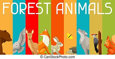 Background with woodland forest animals and birds. Stylized illustration