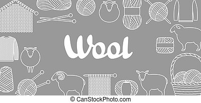 Background with wool items. Goods for hand made, knitting or tailor shop