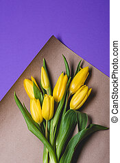 Background with yellow tulips