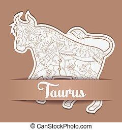 Background with zodiac sign Taurus