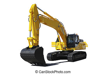 Yellow bulldozer - Background. Yellow bulldozer