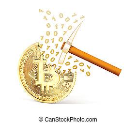 background.3d, fèces, bitcoin, illustration, isolé