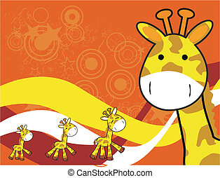 background5, girafe, dessin animé