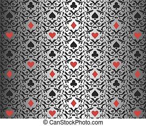background_poker_silver_leaf_black_red - Exclusive black...