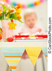 background|anonymous, anniversaire, closeup, bébé, table, décoré, célébration