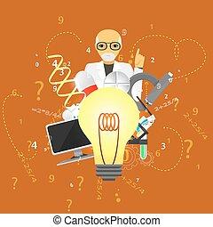 background.(big, wetenschap, idee, geneeskunde, lamp, infographic, sinaasappel, version)