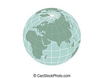 background..eps, vrijstaand, illustratie, planeet land, witte , pictogram