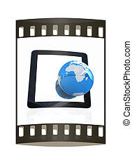 background.global, concept, earch, telefoon, internet, witte...