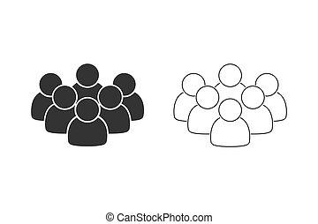 background.group, persone, isolated., nero, bianco, gruppo, fondo, linea, colorare, set, affari, web., icona, avvio, ideale