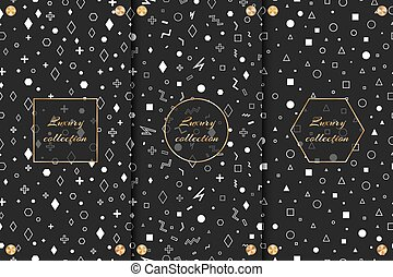 A set of design backgrounds with a black and white pattern with geometric elements, a gold frame and small disks with a conical gradient.