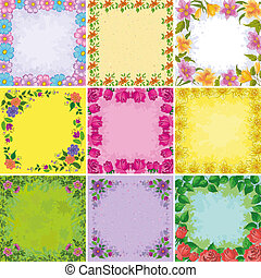 Backgrounds, frames from flowers - Set holiday floral...