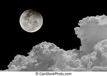 Backgrounds night sky of the full moon.